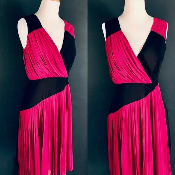 Vintage dress 80s dress Hot PINK  Goddess dress 80