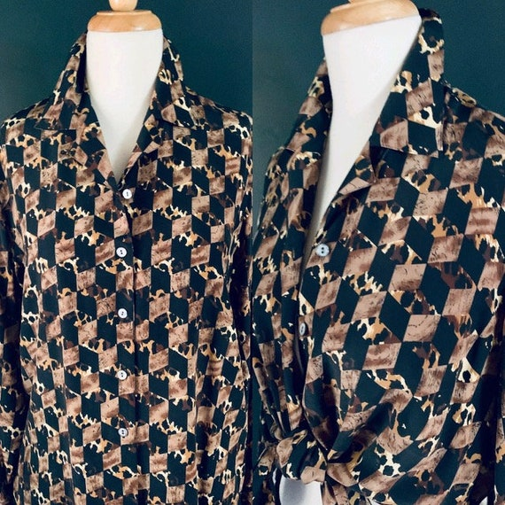 Vintage blouse 80s blouse 1980s blouse Silk blouse