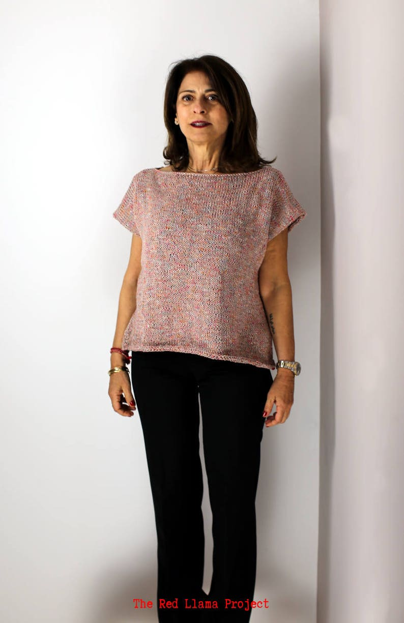 Handknit cotton and linen blouse Beige and Pink melange effect