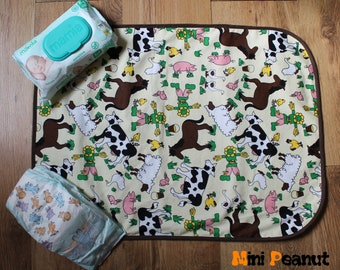Travel Baby Changing Mat-Farm Animals-Waterproof-Cotton-Compact-Washable-Portable Changing Pad-Baby Gift-Baby Shower-Parent Gift-Boy-Girl