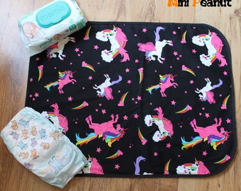 Travel Baby Changing Mat-Unicorns-Waterproof-Cotton-Compact-Washable-Portable Changing Pad-Baby Gift-Baby Shower Gift-New Parent Gift-Girl