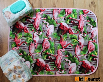 Travel Baby Changing Mat-Flamingo-Waterproof-Cotton-Compact-Washable-Portable Changing Pad-Baby Gift-Baby Shower Gift-New Parent Gift-Girl