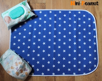 Travel Baby Changing Mat-Blue Stars-Cotton-Compact-Folds Up-Washable-Portable Changing Pad-Baby Gift-Baby Shower Gift-Parent Gift-Boy-Girl