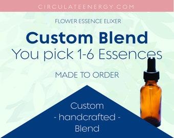 Custom Flower Essence - Design your own Blend - Choose 1-6 - Blooms, Bees, Butterflies - Emotional Support