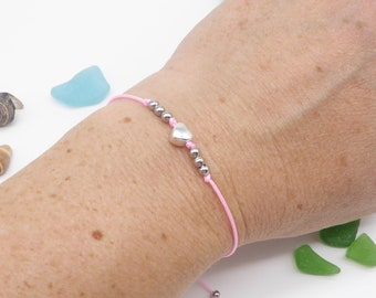 fine bracelet in desired color, middle part selectable, adjustable with sliding knot, gift for women and girls