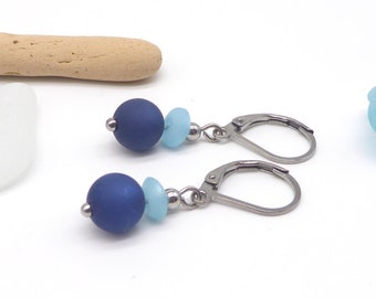 Earrings made of polaris ball and lens, many colors to choose from, accessories completely made of stainless steel