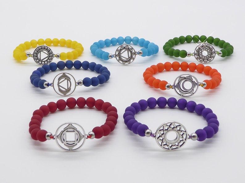 Chakra Yoga bracelet in Polaris beads bracelet 7 chakras image 0