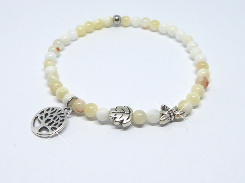 Bracelet in agate beads beige white with tree dragonfly leaf image 0