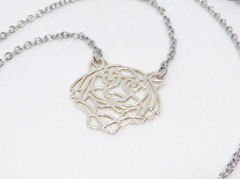 delicate stainless steel necklace with tiger origami pendant image 0