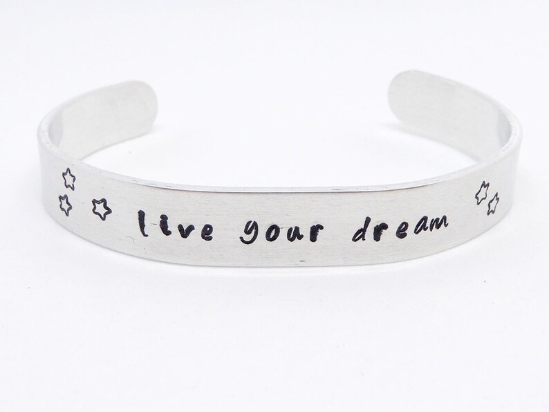Bangle stamped in aluminum wish name dates of birth saying image 0