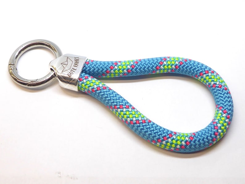 XL  keychain in climbing rope blue stripe metal suspension image 0