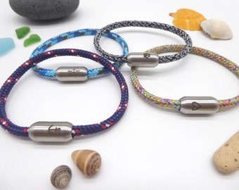 Bracelet sail rope 5 mm thick with engraved magnetic closure, color selection, many colors, bracelets sporty, customizable, gift
