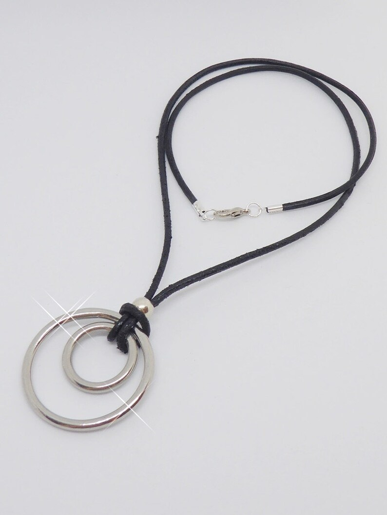 Leather necklace choker with pendant rings silver men's image 0