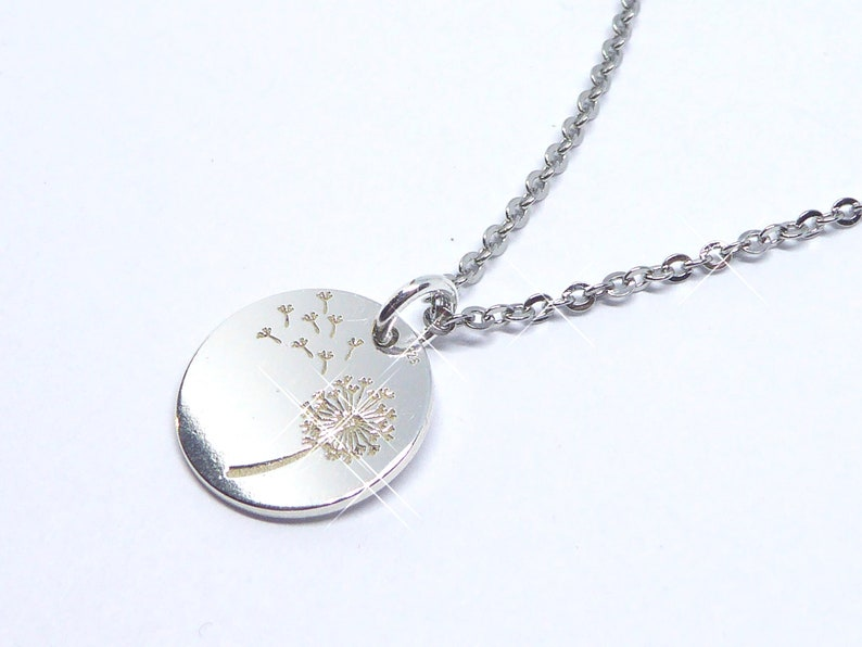 delicate necklace in stainless steel with pendant pusteblume image 0