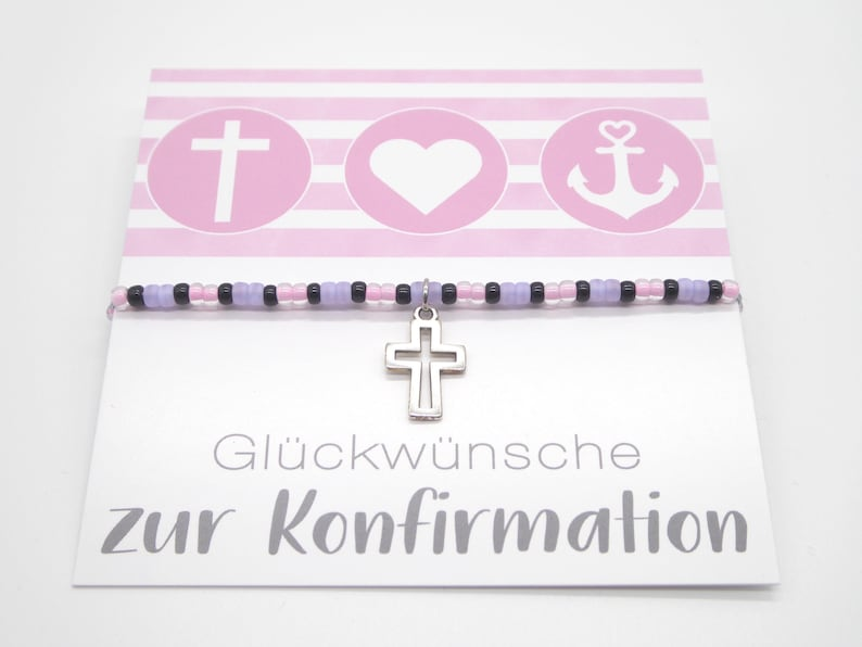 Gift for confirmation / communion delicate bracelet with seed image 0