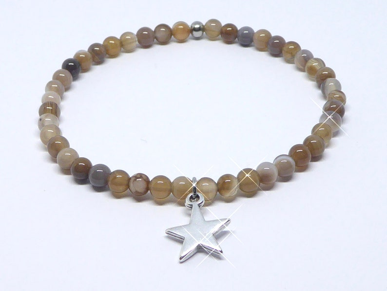 Bracelet in agate beads brown with star silver elastic band image 0