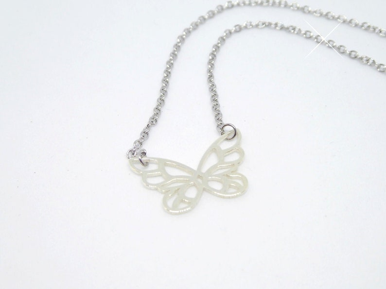 delicate stainless steel necklace with pendant butterfly image 0
