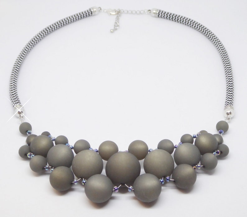 Statement necklace in Polaris and sail rope grey also image 0