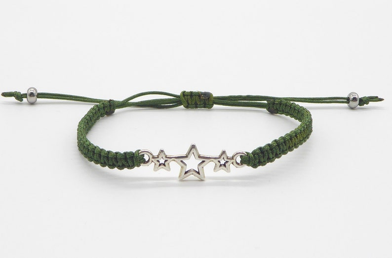 Macrame bracelet with 3 stars wish color many colors image 0