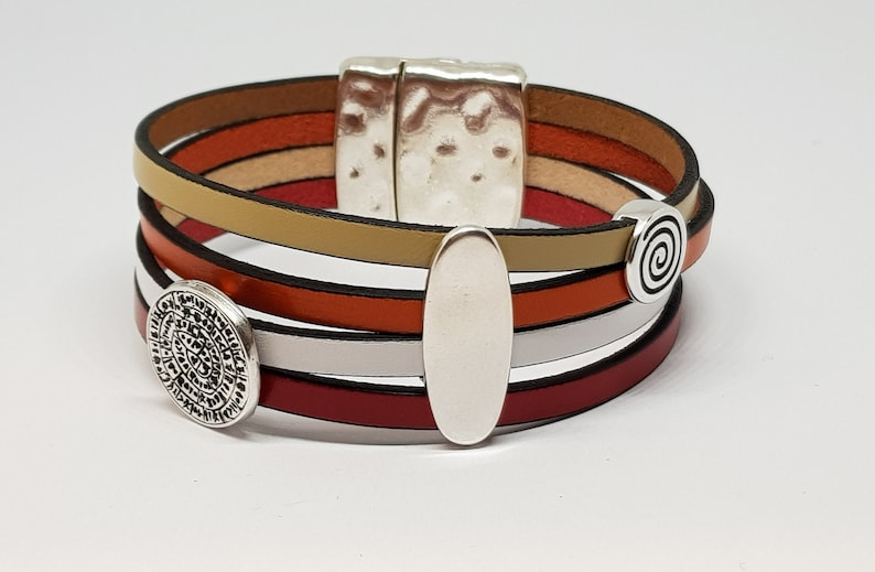 wide leather bracelet in beef leather in cream orange white image 0