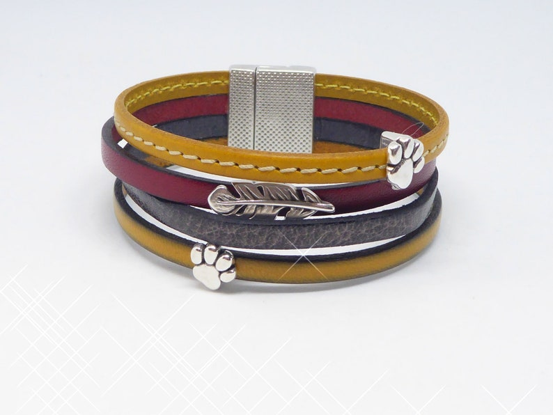 wide leather bracelet in beef leather in ochre brown and red image 0