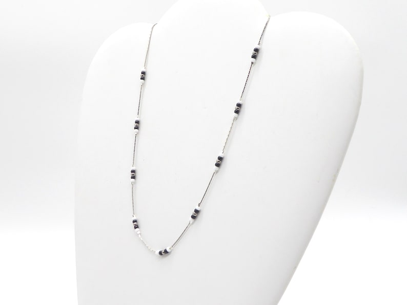 delicate necklace in Miyuki seed beads black white silver image 0