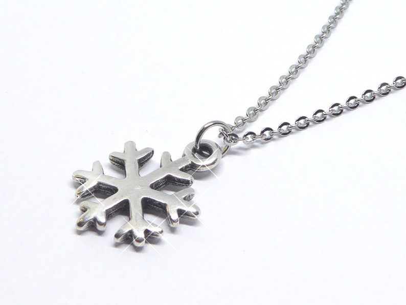 delicate stainless steel necklace with pendant snowflake image 0