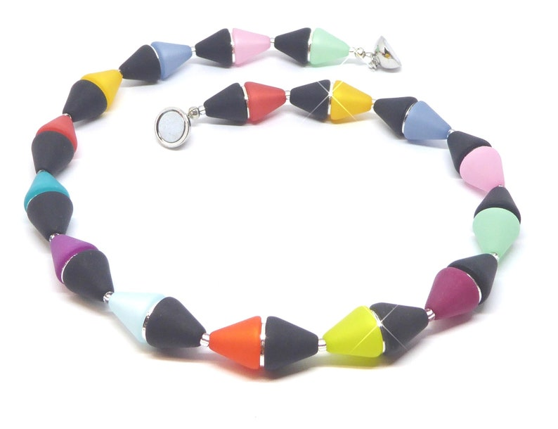 Necklace of large Polaris cones in black/colorful with image 0