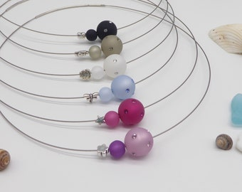 Necklace with polaris beads and motif pearl as desired, many colors possible, beautiful gift for women and girls