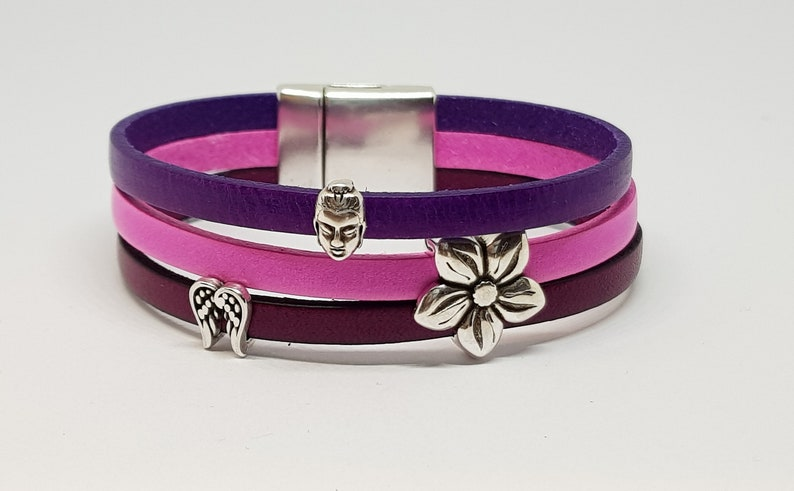 wide leather bracelet in beef leather in pink purple violet image 0
