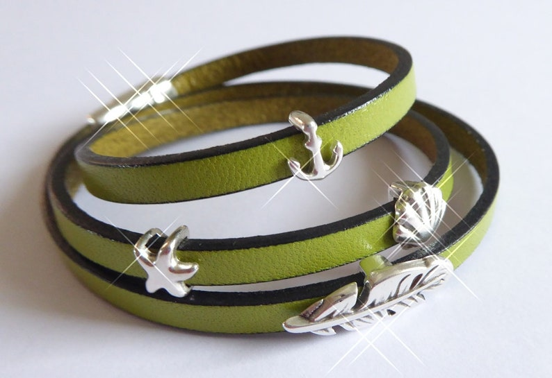Narrow leather wrap bracelet light green silver feather image 0
