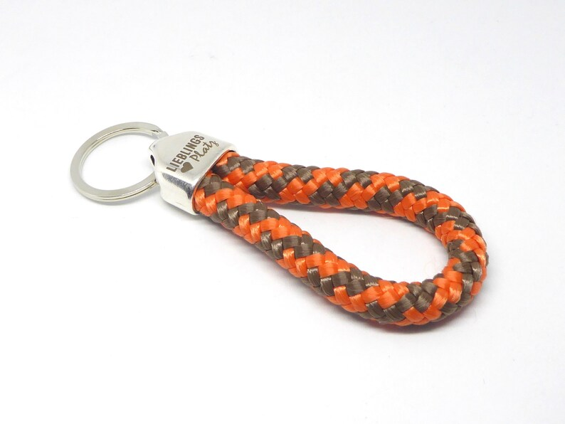 Keychain in climbing rope orange-brown metal suspension with image 0