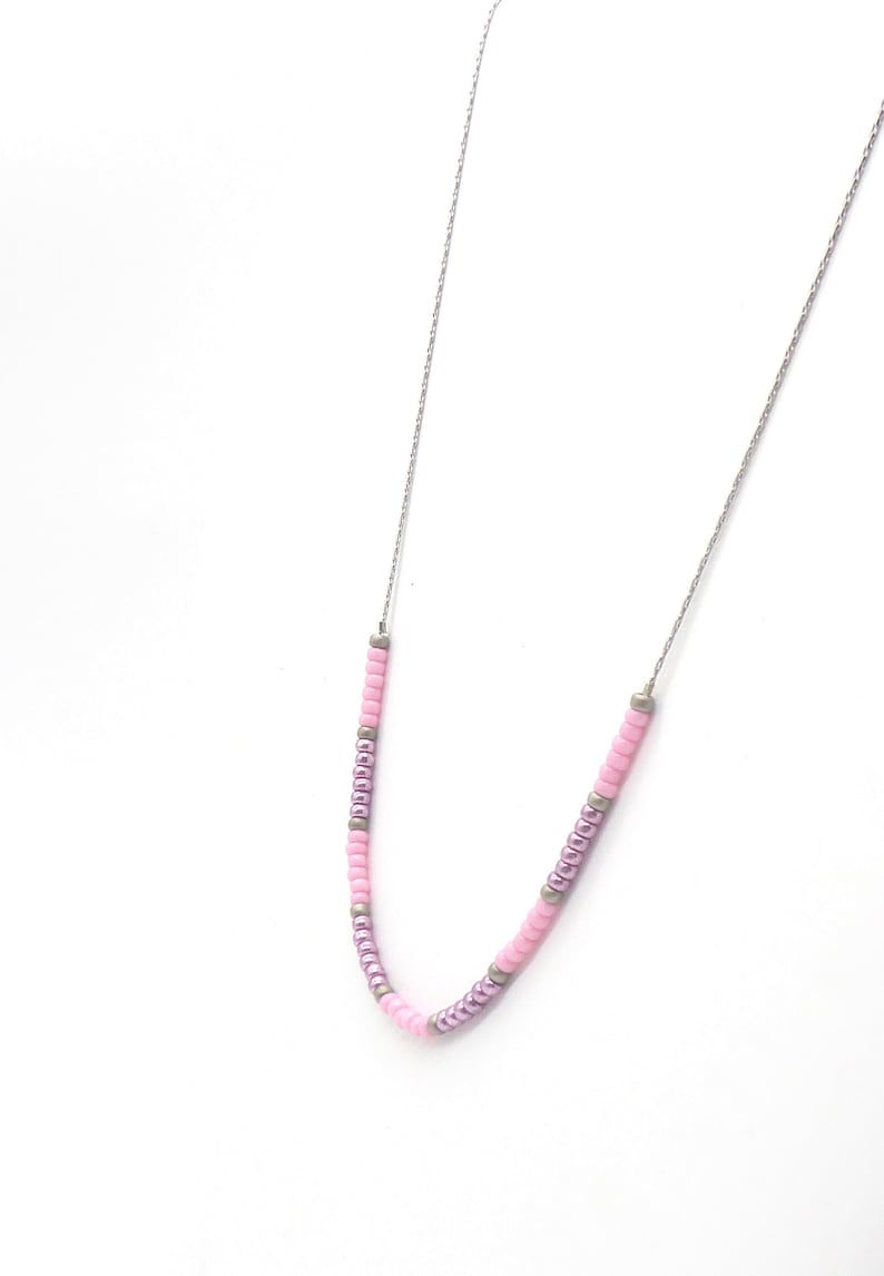 delicate necklace in Miyuki seed beads pink purple grey with image 0