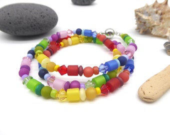 Necklace made of Swarovski, Polaris and seed beads, colorful gradient, rainbow necklace, jewelry, gift woman, roller lenses, length selectable