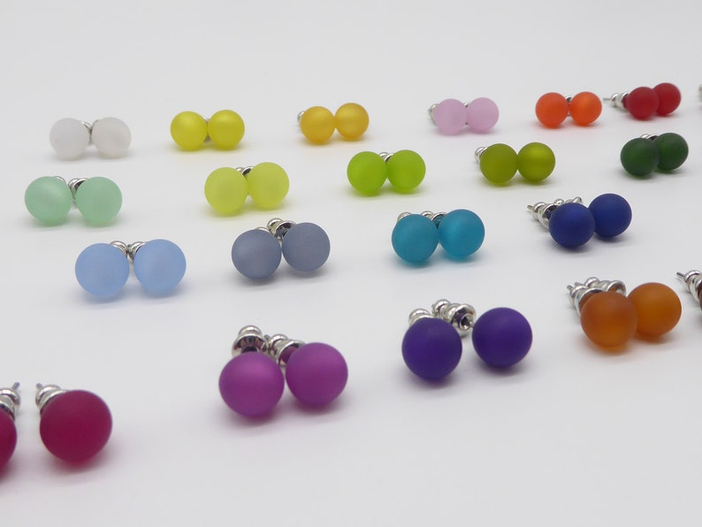 Polaris matte stud earrings 8mm pearl many colors to choose image 0