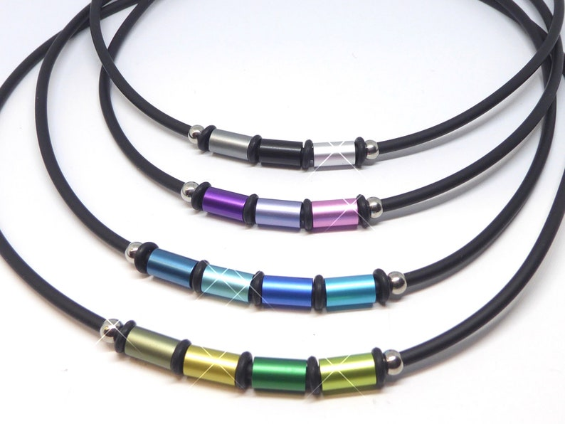 Aluminum Anodized Roller necklace rubber band and aluminum image 0