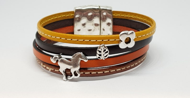 wide leather bracelet in beef leather in yellow brown image 0