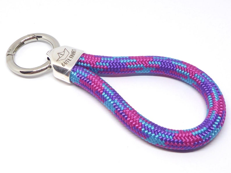 XL  keychain in climbing rope violet patterned metal image 0