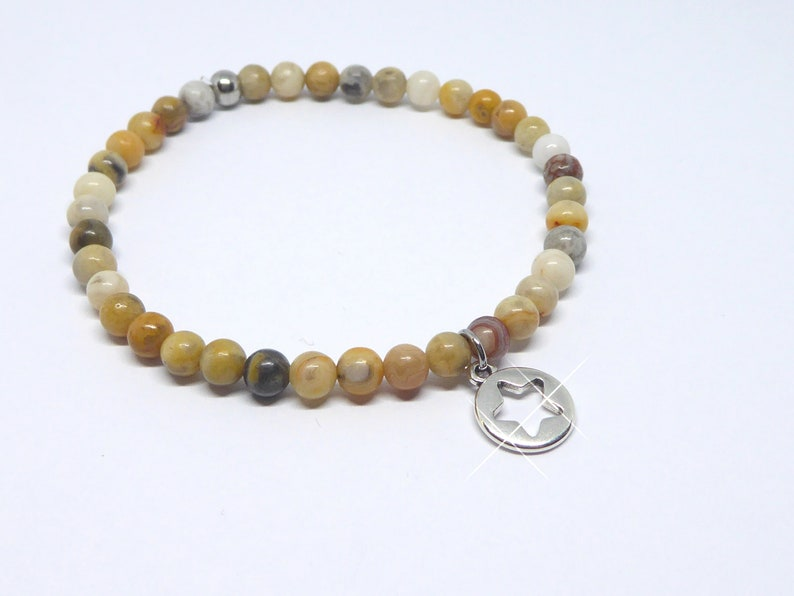 Bracelet in agate beads beige brown with star silver image 0