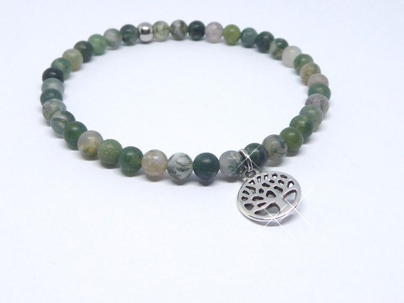 Bracelet in agate beads moss green with life tree silver image 0