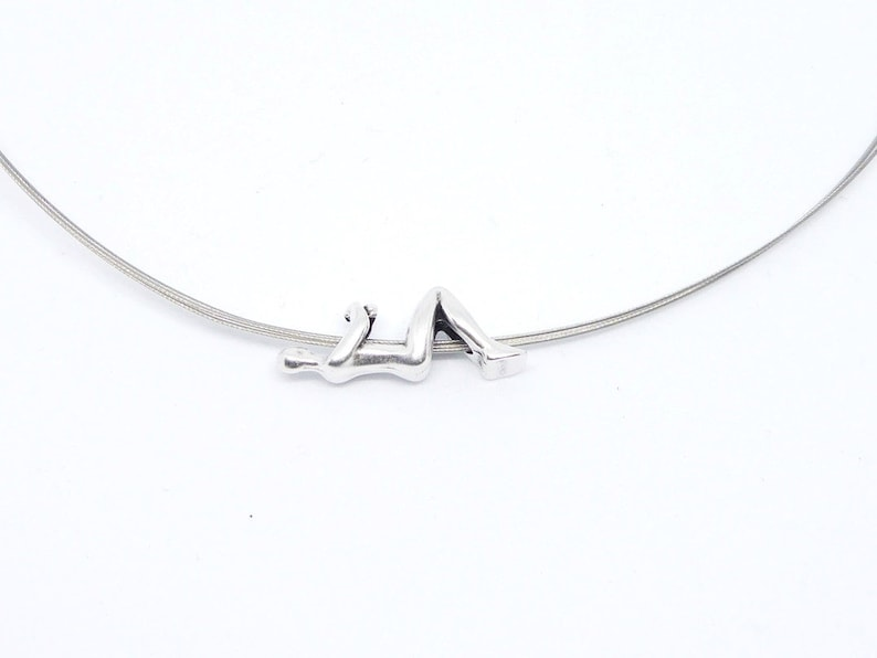 Choker 3-row silver with figurine hanging in silver image 0