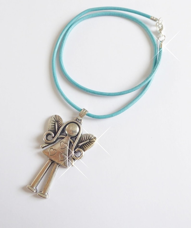 Leather necklace large angel pendant jewelry for women and image 0
