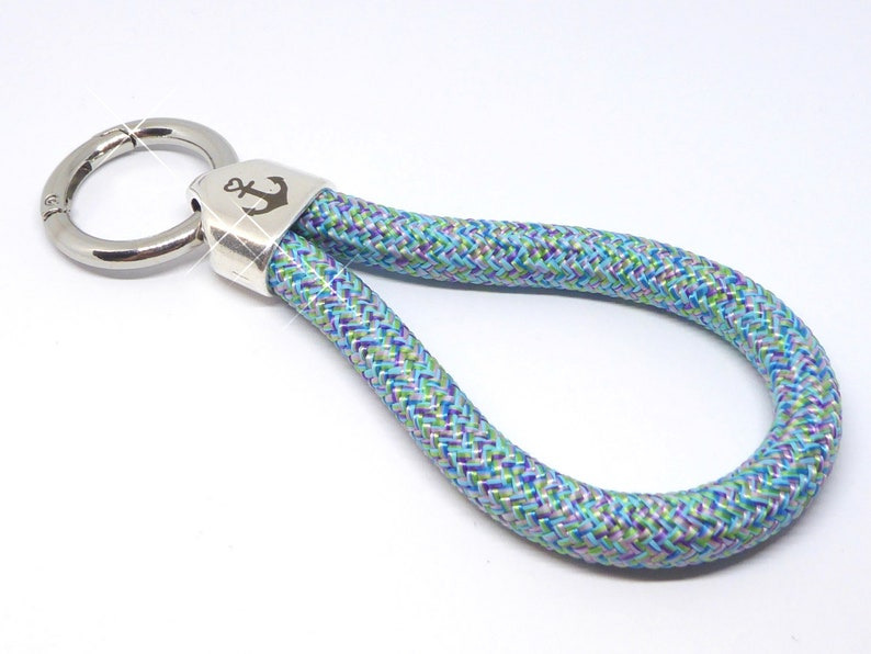 XL  keychain in climbing rope blue patterned metal image 0