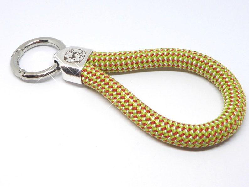 XL  keychain in climbing rope light green red metal image 0