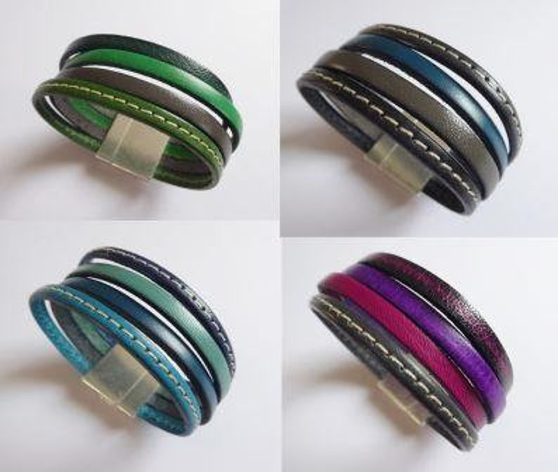 wide leather bracelet in beef leather in many colors with image 0