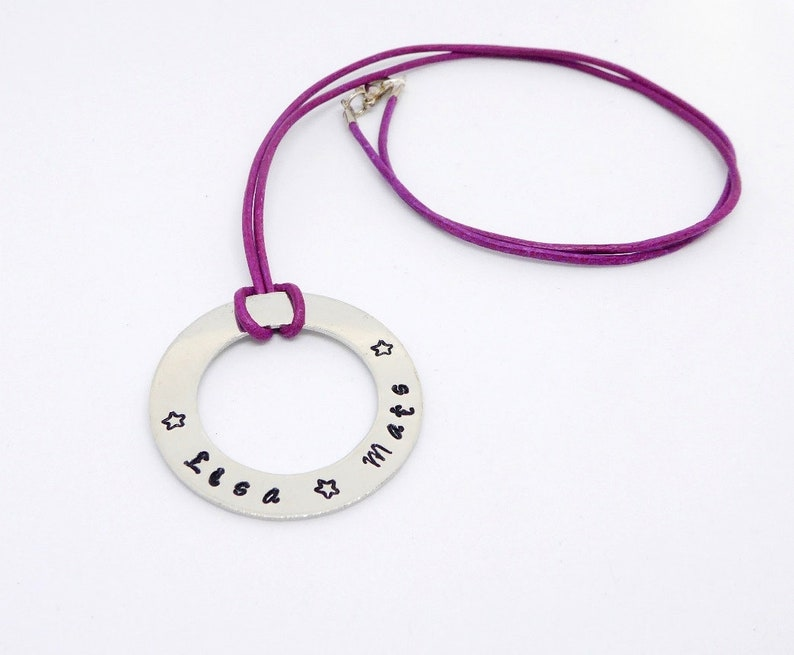 Necklace in leather cord with stamped ring made of aluminum image 0