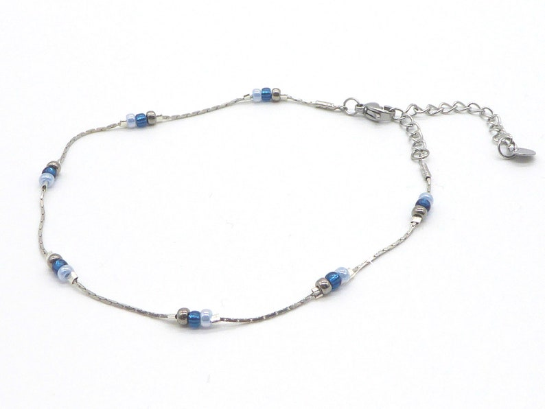 delicate bracelet in Miyuki seed beads blue and silver with image 0