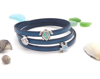 narrow wrap bracelet leather, petrol blue, maritim anchor fish turtle shell, magnetic clasp,also in other colors, gift woman