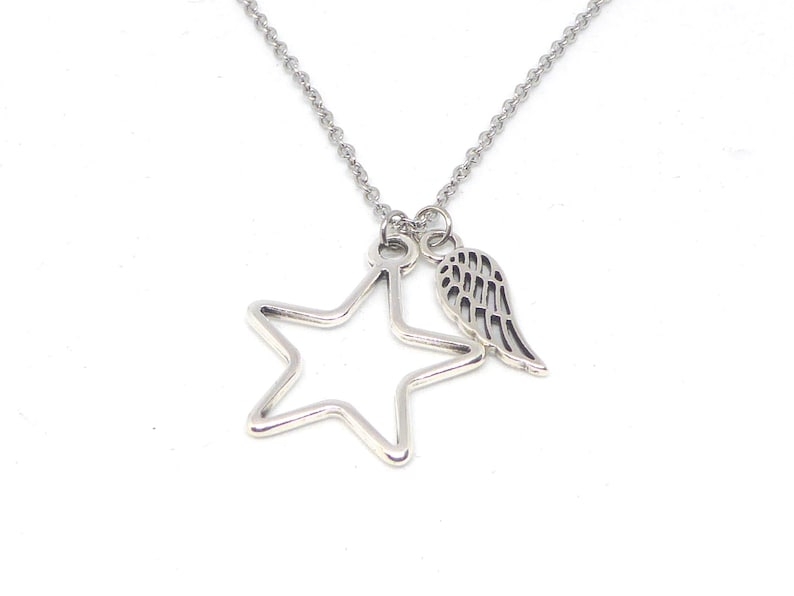 delicate stainless steel necklace with pendant star and wings image 0