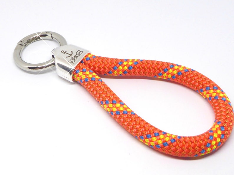 XL  keychain made of climbing rope orange stripes metal image 0